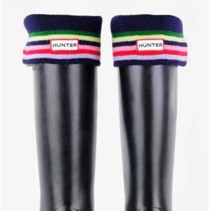 Hunter Fleece Boot Socks Knit Rainbow Stripe Cuff